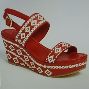 Tory Burch red white leather platform wedges 9.5